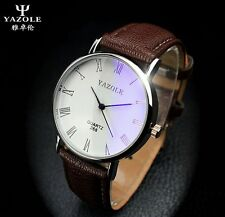 New Men's Leather Casual Stainless Steel Watch Military Sport Quartz Wrist Watch