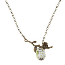 Lovely Ceramic Bronze Leaf Twig Owl Pendant Necklace Women Fashion Jewelry Gift