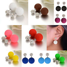 Women Jewelry Double Sided Candy Color Pearl Beads Ear Studs Earrings Jewelry