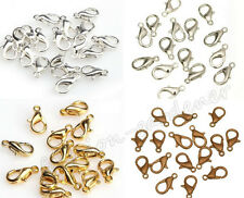 50/100X  Wholesale Silver Gold Copper Bronze Plated Lobster Clasp Hooks 12mm DIY