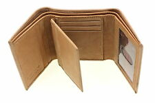 Mens Trifold Wallet Genuine Leather Center Flap Double Stitching Cowhide New
