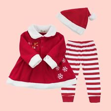 Baby Girls Christmas Santa Claus Costume Top+ Pants + Hat Outfit Clothes Set US