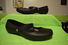 CROCS ALICE BLACK RUBBER WORK FLATS MARY JANES SIZE 8