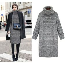 Fashion Women's Winter Turtleneck Long Sleeve Pullover Solid Loose Sweater Dress