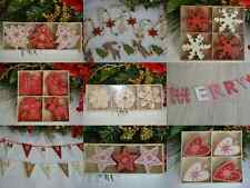 Nordic red white shabby chic christmas decorations tree star heart snowmen