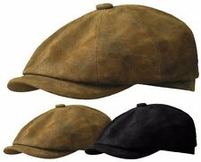 STETSON DISTRESSED LEATHER NEWSBOY CAP GATSBY IVY GOLF DRIVING HAT BLACK BROWN