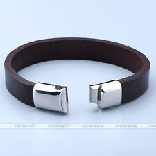 Fashion Leather Pressure Stainless Steel Buckle Cuff Bracelet Bangle