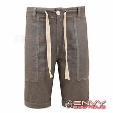 Mens Bellfield Trousers Cotton Summer Turn Up Chino Chambray Shorts Jeans 28-36