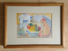original watercolour painting Still life with fruit and Cat signed by Evans