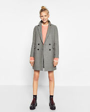 NWT SOLD OUT ZARA BLOGGER GREY DOUBLE BUTTON MASCULINE PARKA DRESS COAT JACKET