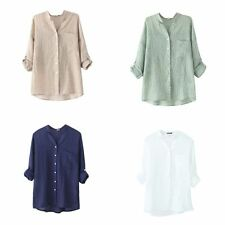 Fashion Ladies Loose Long Sleeve Cotton Linen Sheer T-Shirt Casual Tops Blouses