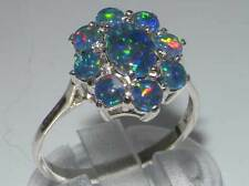 Luxury SOLID 925 Sterling Silver Fully HALLMARKED Ladies OPAL Cluster Ring