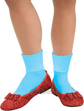 Adult Dorothy Ruby Slippers Fancy Dress Wizard of Oz Sequin Shoes & Bow Ladies