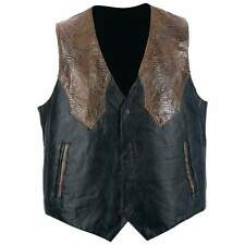 Mens Leather Wester Style Vest Black With Brown Faux Snakeskin  Trim