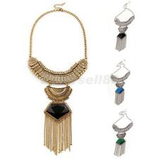 Lady Fashion Jewelry Retro Long Chain Tassels Crystal Pendant Statement Necklace