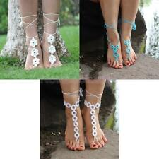 Women Crochet Barefoot Sandals Beach Wedding Bridal Anklet Foot Jewelry Bracelet