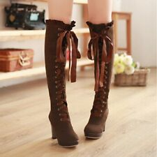 New Womens Boots Platform Block Heel Knee High Stylish Lace Up Pumps Boot Shoes