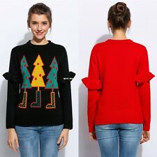 Women Casual O-Neck Long Sleeve Christmas Tree Printing Pullover Knit Sweater