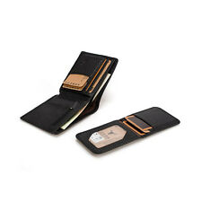 Top Cowhide Leather Bifold Men Wallet Money Clip Passcase ID Card Purse Hipster