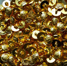 15mm Gold Plastic Button For Suit 1 Hole Round  DIY Sewing Craft 10/50/100pcs
