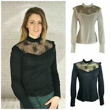 Victorian Style High Neck Blouse in Stretch Jersey Puff Sleeve Long Cuff