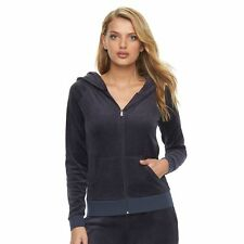 NWT Authentic Women's Juicy Couture Debut Velour Hoodie  Jacket  Regal Blue