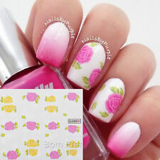 1Sheet Nail Art Water Decals Transfers Sticker Enamel Colored Floral Pattern