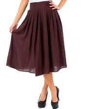 NWT Women's Solid Rayon Pleated Zip Back Wide Waistband Knee Length A-Line Skirt
