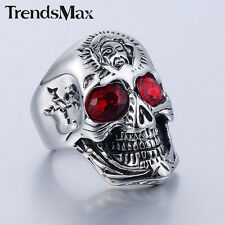Fashion 316L Stainless Steel Skull Skeleton Band Ring Red Rhinestones Mens Ring