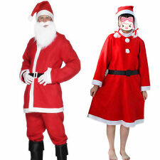 Mens Womens Christmas Santa Claus Cosplay Costume Party Fancy Dress Outfits Set