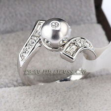 Fashion CZ Pearl Solitaire Ring 18KGP Rhinestone Crystal Size 5.5-9