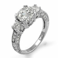 Three Stone Round Anniversary Engagement Ring Cubic Zirconia Sterling Silver 925