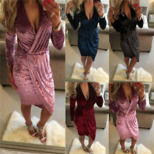 Sexy Womens Casual Long Sleeve Velvet Dress V-Neck Evening Party Cocktail Dress