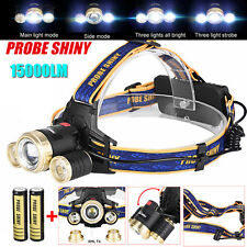 15000LM ZOOM Headlamp XM-L 3 x T6 LED Headlight 18650 Light Charger Battery Set