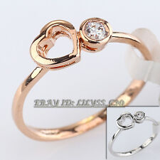 Fashion CZ Heart Solitaire Ring 18KGP Rhinestone Crystal Size 5.5-9