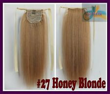 120g Honey Blonde Virgin Ponytail Remy Hair Clip In Real Human Hair Extensions
