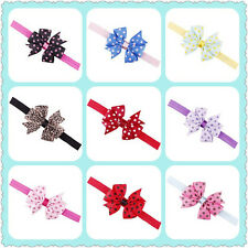 Unique Newborn Baby Toddler Kids Girl Bowknot Dots Hair Band Headband QWC