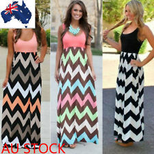 Women Beach Party Striped Maxi Dress Ladies Sleeveless Summer Dress Playsuit AU