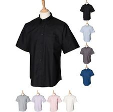 Mens Henbury Short Sleeve Classic Oxford Anti Wrinkle Formal Cotton Rich Shirt