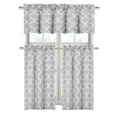 Geo Trellis 3 PC Faux Linen Kitchen Curtain Tier & Valance Set - Assorted Colors
