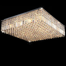 Contemporary Clear Crystal Chandelier Pendant Square Flush Mount Ceiling Lights