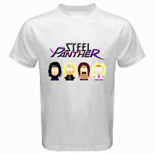 New THE STEEL PANTHER Metal Rock Band Personels Cartoon White T-Shirt Size S-3XL