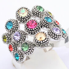 Fashion Rhinestone Cocktail Band Ring 18KGP CZ Crystal Size 6.5, 8, 9