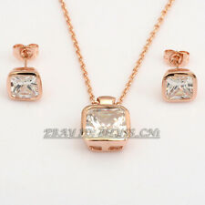 A1-S085 Fashion CZ Simulated Topaz  Earrings Necklace Jewelry Set 18KGP Crystal