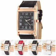 New Men Women Wrist Watch Square Dial Quartz Analog Leather Band