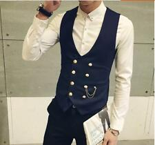 Simple Style Men's New Top Slim Fit Vests Casual  Fashion double-breasted vest