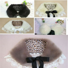 Womens Lace Hem Warm Scarf Faux Rabbit Fur Wrap Ribbon Bow Neckerchief Collar