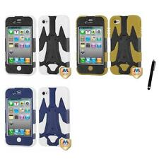 For iPhone 4/4S Cyborg Hybrid IMPACT Cover TUFF Shell Phone Case Stylus Pen
