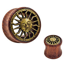 1pair Brass Sun Ear Plug-Organic Wooden Ear Gauges-Double Flared Flesh Tunnels