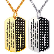 U7 Men Jewelry Stainless Steel Dog Tag Cross Pendant Bible Lords Prayer Necklace